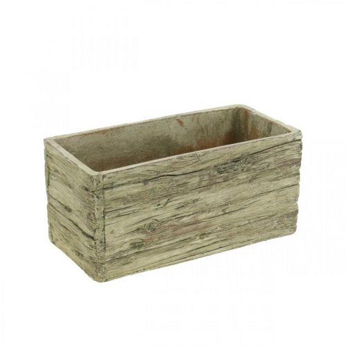 Planter box concrete rectangular wood look brown 23 × 10.5cm H11cm