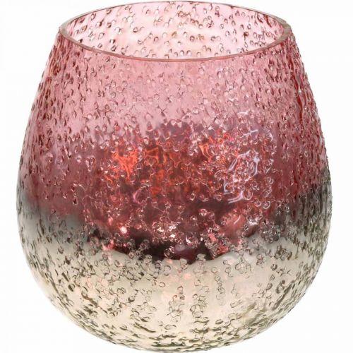 Glass lantern, tealight holder, table decoration, candle glass pink / silver Ø15cm H15cm