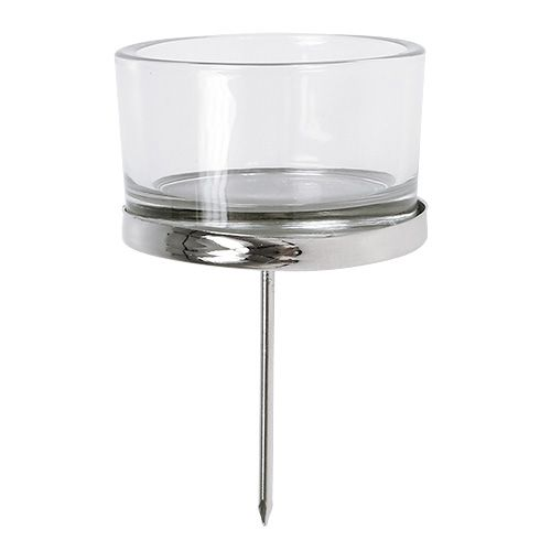 Candle holder with glass silver 4pcs