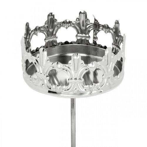 Candle decoration crown, tealight holder to stick, Advent decoration silver Ø5.5cm 4pcs
