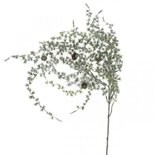 Deco branch larch with cones green, snowy winter deco 93cm
