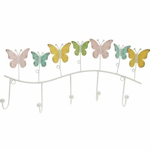 Spring decoration, hook rail with butterflies, metal decoration, decorative wardrobe 36cm