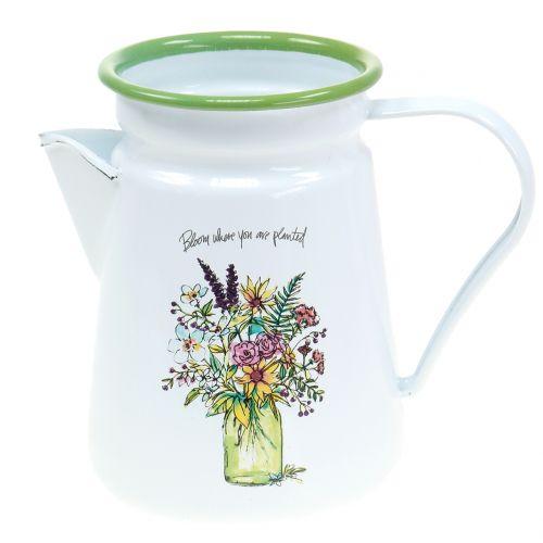 Decorative jug plant pot enamelled Ø12cm H16cm