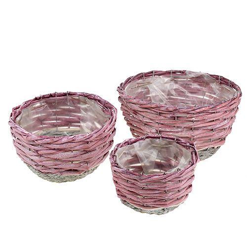 Basket round set of 3 Ø14cm - 24cm pink, natural