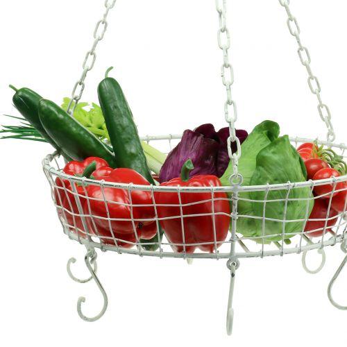 Kitchen hanger basket with hooks white Ø41cm