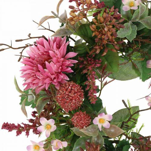 Autumn wreath silk flowers pink gerbera thistle table wreath Ø32cm