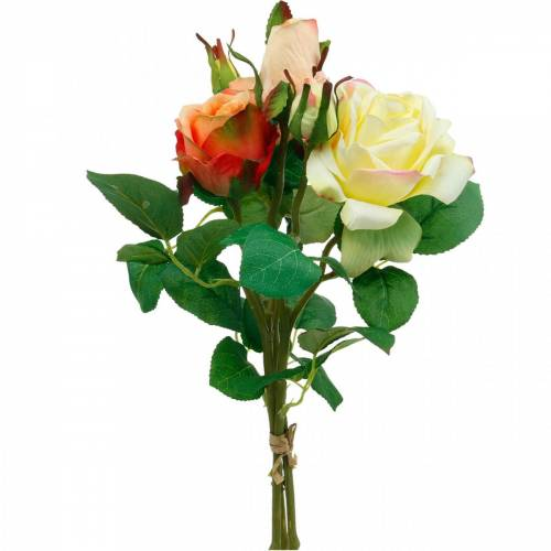 Artificial flowers, bouquet of roses, table decorations, silk flowers, artificial roses yellow-orange