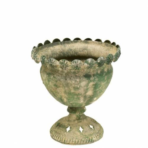 Decorative cup, antique look, metal, moss green, Ø13cm, H14.5cm