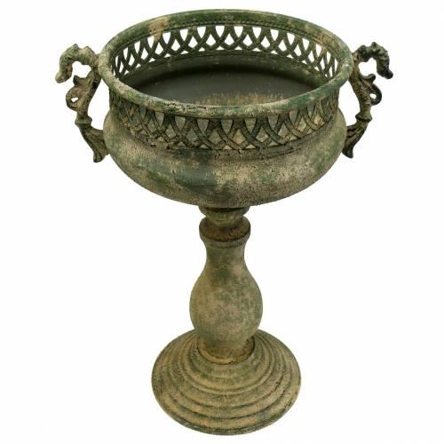 Decorative cup, antique look, metal, moss green, Ø19cm, H35.5cm