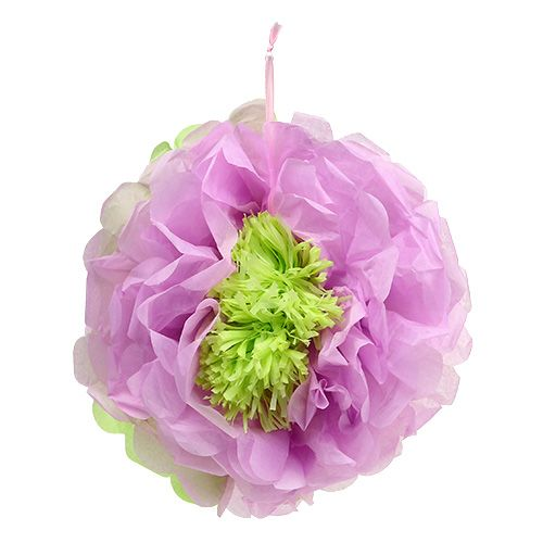 Paper flower Ø28cm for hanging green-purple