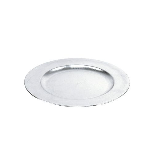 Plastic plate 25cm silver with silver leaf effect