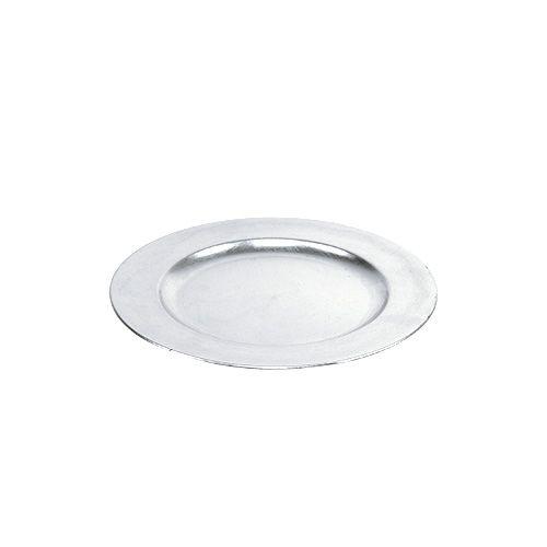 Plastic plate silver Ø17cm 10pcs