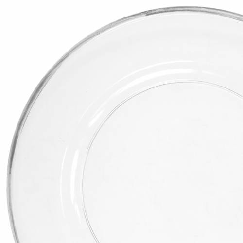Decorative plate with silver rim clear plastic Ø33cm