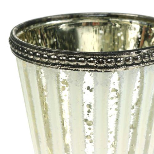 Tealight glass goblet farmer's silver H11cm