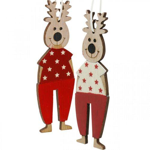 Reindeer to hang, Christmas decorations, Christmas tree decorations, wooden decorations for Advent H13cm 8pcs