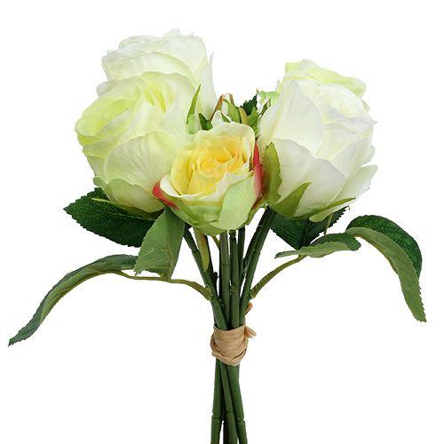 Rose bunch white-green Ø15cm L25cm