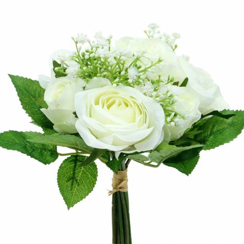 Bouquet of roses with gypsophila white 26cm