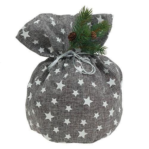 Bag with stars Ø23cm H35cm gray