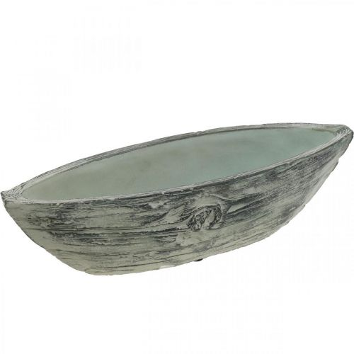 Planter bowl oval concrete boat wooden design 37 × 11.5cm H10cm