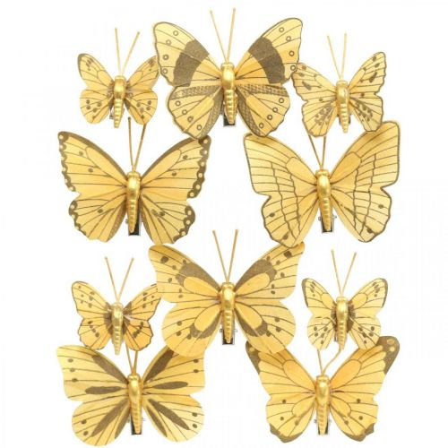Spring butterfly with clip golden spring decoration 6cm 10pcs in a set