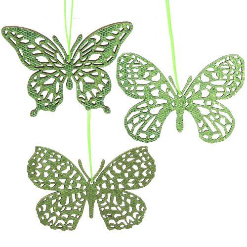Decoration hanger butterfly green glitter8cm 12pcs