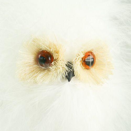 Snowy owl on a wooden stick 7cm L28cm 6pcs