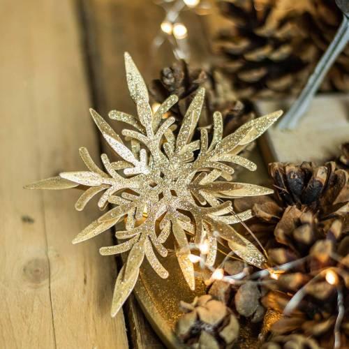 Snowflake 3D effect gold 16cm x 15.5cm 2pcs