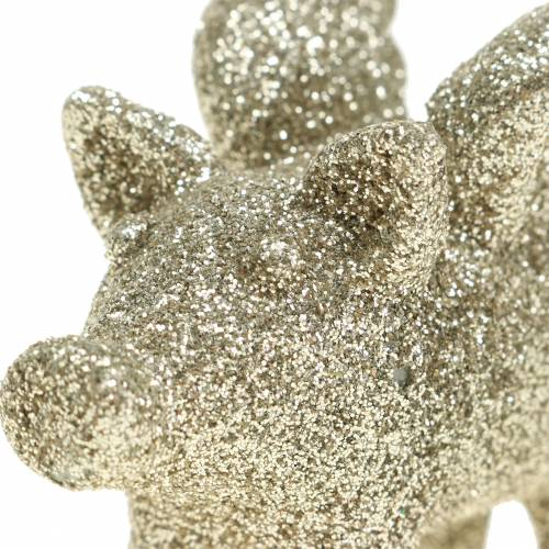 Decorative pig with wings gold mica 6cm