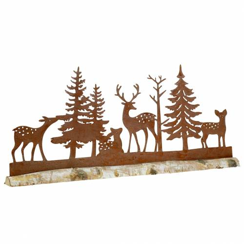 Forest silhouette with rusticated animals on a wooden base 57cm x 25cm
