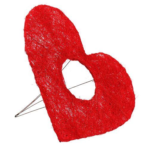 Sisal heart cuff 25cm red 10pcs
