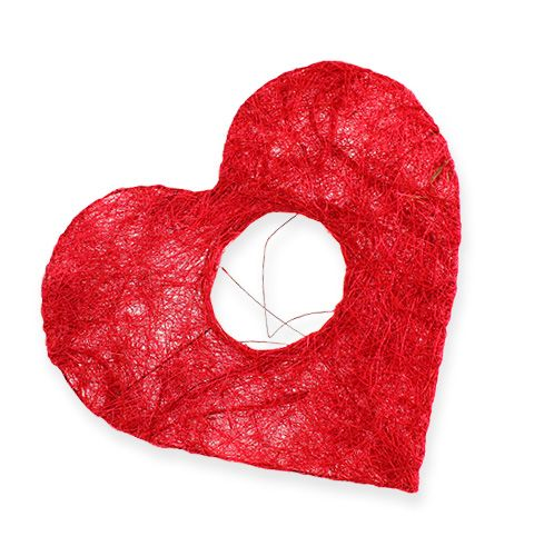Sisal heart cuff 10cm red 12pcs