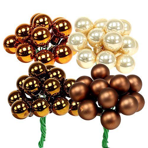 Mirror berries Ø1.5cm brown-gold 140p