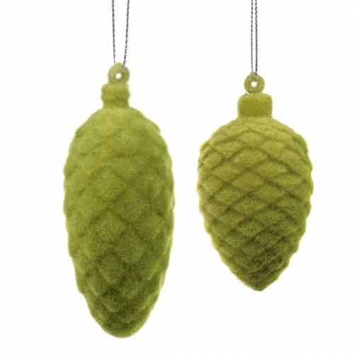 Decorative cones flocked moss green 9.5cm / 8cm 12pcs