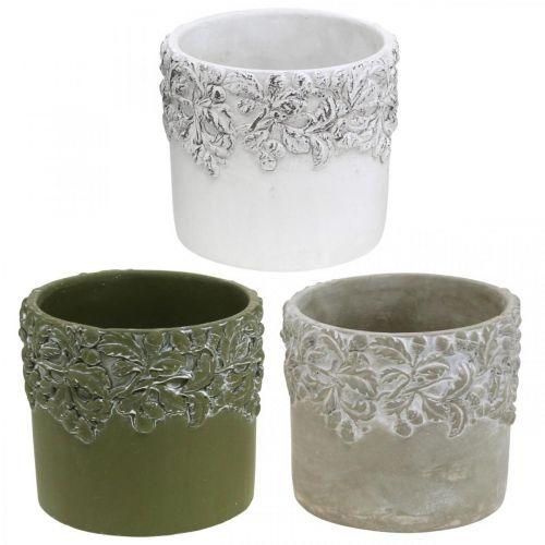 Ceramic vessel, flower pot with oak decor, plant pot green / white / gray Ø13cm H11.5cm set of 3