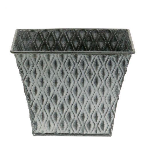 Zinc pot with diamond pattern H11.5cm