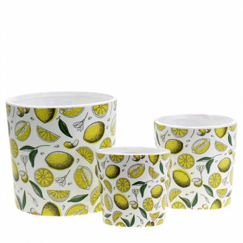 Planter lemon yellow Ø8 / 10 / 13cm set of 3