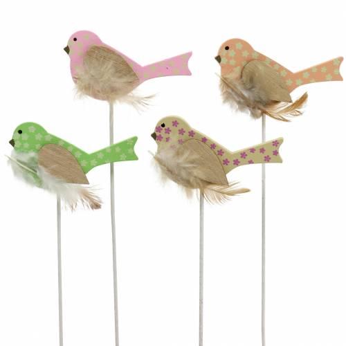 Deco plug bird wood green, pink, yellow, orange assorted 7cm x 4cm H24cm 16pcs