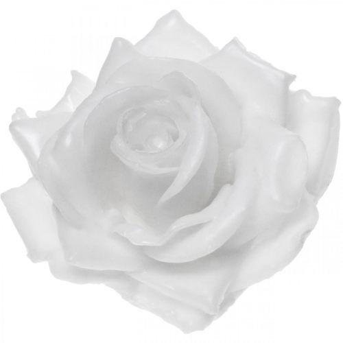 Wax rose white Ø10cm Waxed artificial flower 6pcs