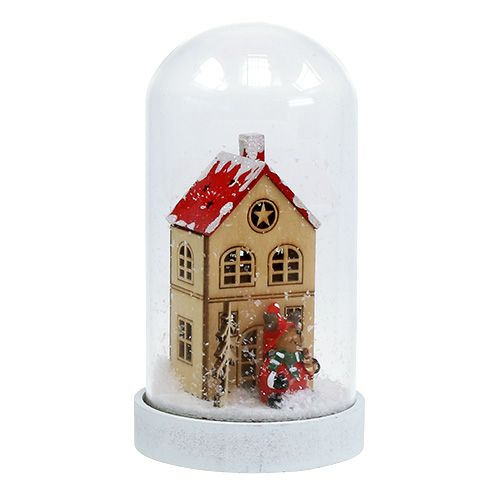 Christmas decoration house with bell jar Ø9cm H16.5cm