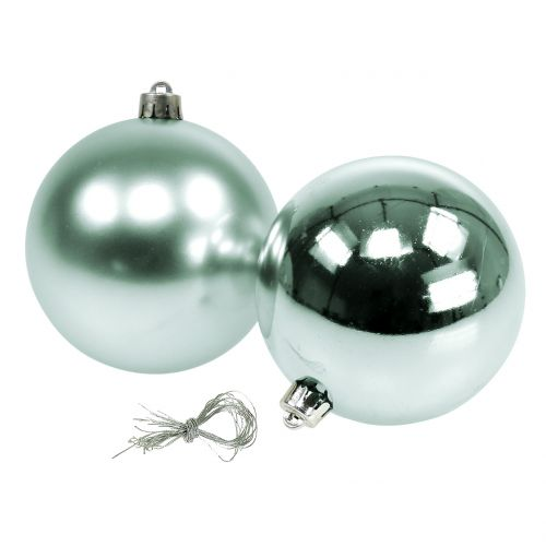 Christmas ball breakproof light green assorted Ø10cm 4pcs