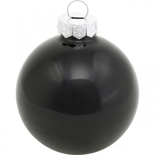 Christmas tree balls, tree pendants, glass balls black H6.5cm Ø6cm real glass 24pcs