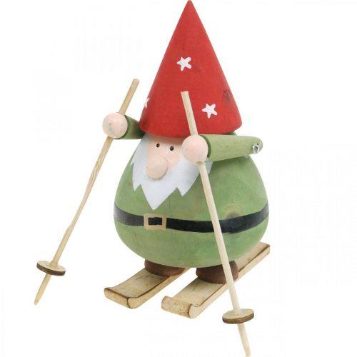 Gnome on ski decoration figure wood Christmas Gnome figure H13cm