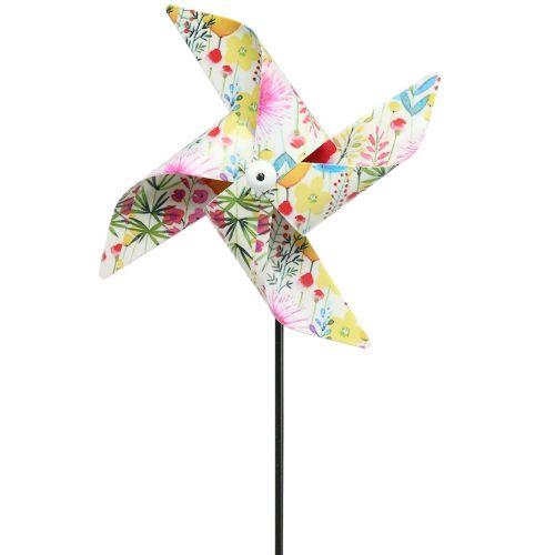 Summer decoration windmill Ø14cm colored on the stick 3pcs