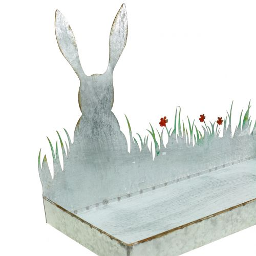 Zinc bowl spring meadow with Easter bunny 35cm x 16cm H24cm