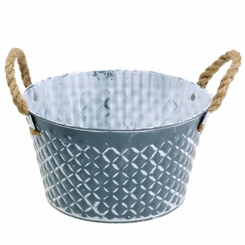 Zinc bowl diamond with rope handles blue-gray Ø25cm H14cm