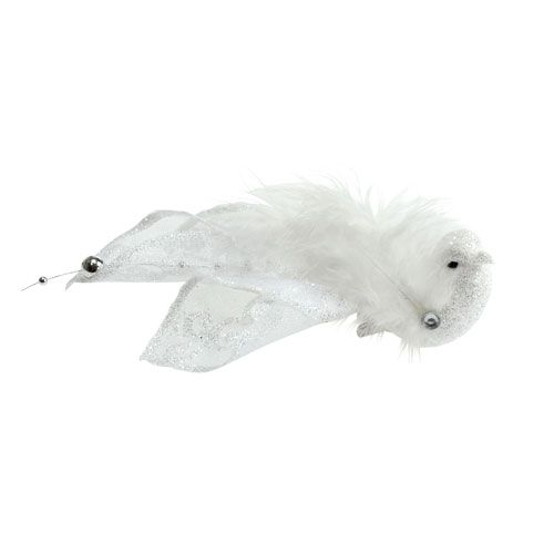 Decorative bird on clip with glitter white 14cm 2pcs