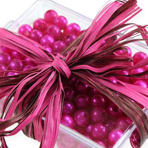 Raffia ribbon bicolour pink-brown 200m